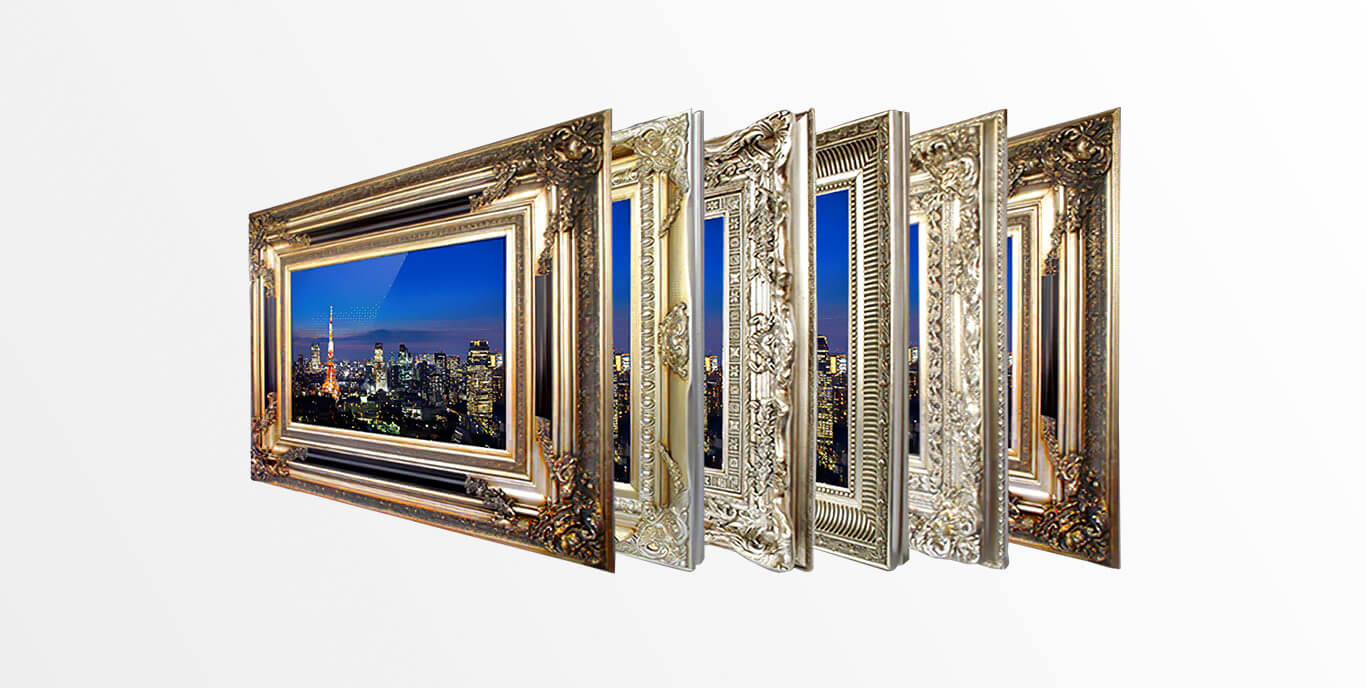 Six different carved and gilded tv frames.